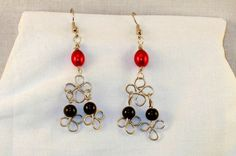 Chandelier Christmas Earrings Black Red & Silver by PursuitofLight, $14.00
