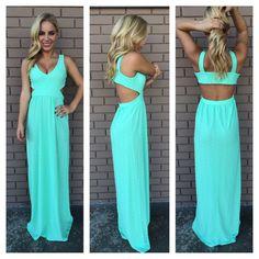 Mint Zig Zag Texture Maxi Dress. Cute for attending an outdoor summer wedding