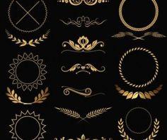 Classical gold decorations vector set