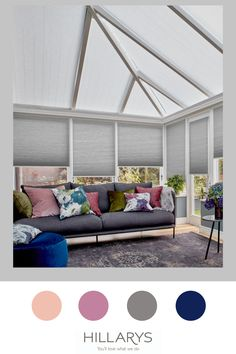 You may not think it, but grey is a classic colour which can be styled with almost everything, and our Crush Charcoal Pleated blinds are a great choice for a conservatory space such as this one. Keep it cool looking in summer with bright or floral accessories, or warm it up in winter with rich jewel tones and velvet textures. And because these are Thermashade they're perfect the whole year round too. View more of how you can get this look for your conservatory. Conservatory Ideas, Jewel Tones, Cosy, Blinds, Charcoal, Velvet, House Design, Dreams, Bright