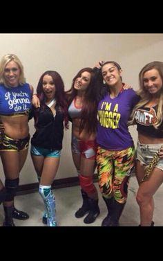 Charlotte, Sasha, Becky, Bayley, & Carrmella