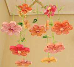 Baby Girl Flower Rain Crib Cradle Nursery Mobile by tsipouritsa, $55.99