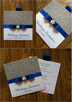 Royal blue and silver glitter wallet wedding invitation with small rose www.jenshandcraftedstationery.co.uk www.facebook.com/jenshandcraftedstationery