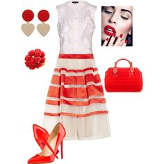 A fashion look from March 2013 featuring Armani Jeans blouses, Temperley London skirts and Christian Louboutin pumps. Browse and shop related looks.