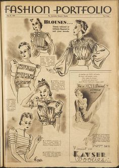 Trove: Find and get Australian resources. Books, images, historic newspapers, maps, archives and more. 1930s Fashion, Retro Fashion, Vintage Fashion, Fashion Illustration Vintage, Vintage Illustrations, Fashion Illustrations, Line Patterns, Sewing Patterns, Smocking