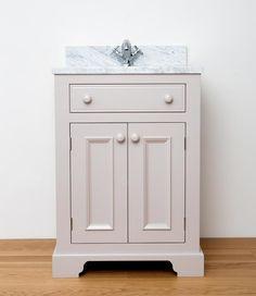 Sussex 2 door vanity unit 600mm wide in Farrow & Ball Dove Tale…