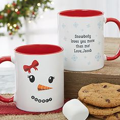 Snowman Character Personalized Christmas Mug - Red - Christmas Gifts Personalized Christmas Mugs, Personalized Coffee Mugs, Handmade Christmas Gifts, Christmas Gifts For Kids, Christmas Projects, Christmas Crafts, Red Christmas, Christmas Ornaments, Diy Mugs
