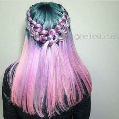Pink and green hair.. With a gorgeous braid