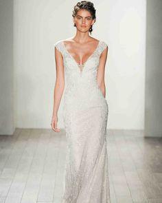 Lazaro Fall 2017 Wedding Dress Collection   Martha Stewart Weddings – Short-sleeve V-neck A-line wedding dress