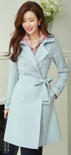 StyleOnme_Double-Breasted Belted Trench Coat #pastel #lightblue #trench #coat #koreanfashion #springtrend #kstyle #kfashion #seoul #feminine #elegant #jacket