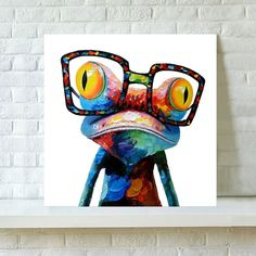 Modern Abstract Art Brand New 100% Hand-painted Oil Painting on Canvas Frog Cartoon Home Wall Decor Paintings A02