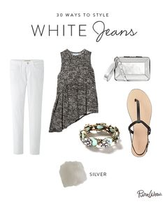 Very cute, nice summer outfit.  How to Style White Jeans via @PureWow