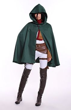 COSROOM Attack on Titan Trainning corps Mikasa Ackerman Cosplay Costume with cloak Tailor Made >>> Check this awesome product by going to the link at the image-affiliate link.