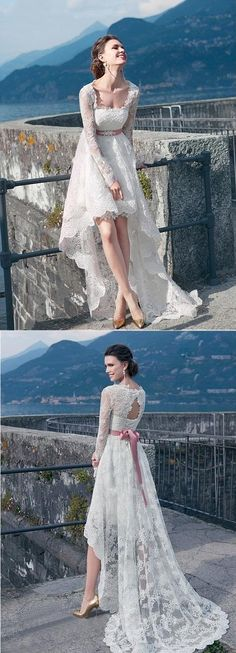 high low long sleeves a-line/princess long lace wedding dress