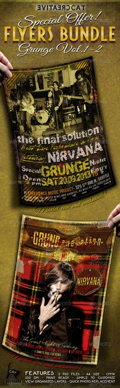 Grunge Flyer/Poster Bundle Vol. 1-2 ...  advertise, alternative, artist, band, britpop, bundle, concert, event, fest, festival, flyer, grunge, guest, indie rock, invitation, live, metal, music, offer, pack, party, poster, print, punk rock, rock, singer, stars, template, thecreativecat, underground