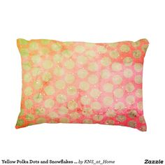 Yellow Polka Dots and Snowflakes on Tie-Dye Denim, 2 sided, customizable, Decorative Throw Pillow