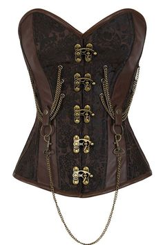 【$ 10.93】14 Steel Bone Hourglass Steampunk Chained Overbust Corset