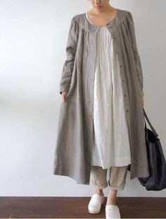 Linen in the Winter - Jacket / Dress [Envelope Online Shop] Michaela Lisette dress: Modest Fashion, Hijab Fashion, Fashion Dresses, Linen Dresses, Modest Dresses, Dress For Summer, Look Fashion, Womens Fashion, Fashion Design