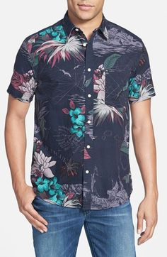Quiksilver 'Dead Sea' Modern Fit Short Sleeve Print Woven Shirt available at #Nordstrom