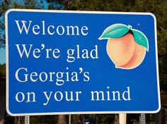 """""""Georgia On My Mind"""" is the official song of the Peach State, so it's only fitting that a snippet of the lyrics (along with a fuzzy peach) ended up on its welcome signs."""