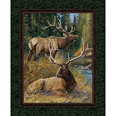 "Mountain Sky Elk Pillow Case Block Teal Springs 34/"" Wild Wings Fabric Panel"