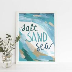 Salt Sand Sea Beach Quote Poster Blue and Tan Coastal Nursery Wall Art Print or Canvas Beach Chic Decor, Surf Decor, Nursery Wall Art, Canvas Wall Art, Wall Art Prints, Nursery Decor, Coastal Nursery, Wall Art Quotes, Quote Wall