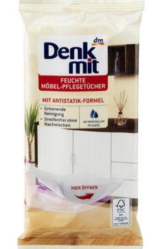 Feuchte Möbel-Pflegetücher von Denkmit reinigen und pflegen mit ihrer milden Lotion Möbel-Oberflächen einfach und bequem. Die Antistatik-Formel reduziert...