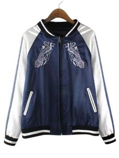 Shop Blue Embroidery Bird Contrast Sleeve Bomber Jacket from choies.com .Free shipping Worldwide.$44.91?utm_source=web
