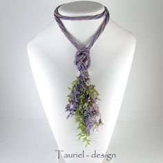 Lariat with amethyst, Fire Polish, glass tears and Toho Dawn Bead Embroidery Jewelry, Beaded Embroidery, Beaded Jewelry, Jewellery, Lariat Necklace, Pendant Necklace, Peyote Beading, Beadwork, Creative Textiles