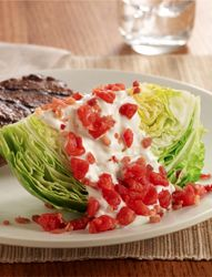 BBT Wedge Salad... Need a quick side dish to bring to that Memorial Day party this weekend? This dish is for you. Crunchy iceburg lettuce, blue cheese dressing, tomatoes and bacon bits, all prepared in under 10 minutes!