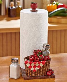 Add a decorative look to your table and always have seasoning on hand with this Paper Towel Holder Set with salt and pepper shakers. The cold cast ceramic base is shaped in a themed design, and the wood paper towel rod has an embellished finial Grape Kitchen Decor, Kitchen Themes, Country Kitchen, Kitchen Paper Towel, Kitchen Towels, Sunflower Kitchen, Towel Rod, Wine Decor, Shaker Kitchen