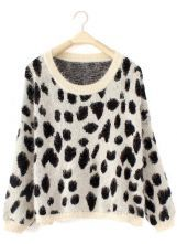 White Long Sleeve Leopard Loose Pullovers Sweater $43.60