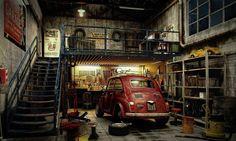 Image 3D fiat 500 dans un garage atelier