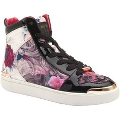 Ted Baker Paryna High Top Flat Trainers, Purple Print ($160) ❤ liked on Polyvore featuring shoes, sneakers, high low tops, lace up sneakers, hi tops, hi low tops and canvas sneakers