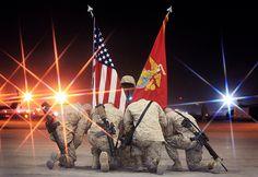 The Ultimate Sacrifice | Marines kneel down beside the battl… | Flickr
