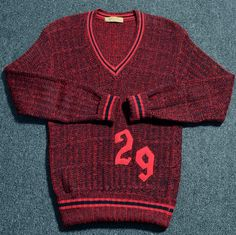 20's (1929) VINTAGE RED & BLACK WOOL V-NECK PULLOVER VARSITY SWEATER - ALBION KNITTING MILLS - Available for sale at rpvintage.com.