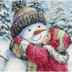 A Kiss for a Snowman Counted Cross Stitch Kit