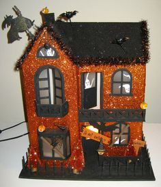 SENSATIONAL Large LIGHT-UP Orange & Black Glitter Haunted House - Orig. $195 | eBay