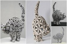 Joana Vasconcelos. Cats - Sculpture Wrapped in Crocheted Webbing.