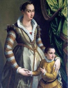 Portrait of Isabella de Medici Orsini with her son Virginio by Alessandro Allori, 1574 - cakerecipespins. Italian Renaissance Dress, Mode Renaissance, Renaissance Fashion, Renaissance Clothing, 1500s Fashion, Renaissance Costume, Historical Costume, Historical Clothing, Female Clothing