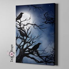 Ravens in the Moonlight Gallery Wrapped Canvas - Wall Art, now in 3 Sizes, the perfect addition to your favorite room. I print my graphics on canvas - Black Canvas Paintings, Acrylic Painting Canvas, Acrylic Art, Paintings On Canvas, Black Canvas Art, Black Art, Witch Painting, Halloween Painting, Halloween Canvas Paintings