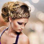 High angle portrait of beautiful woman with  hairstyle - modern fashion background by Valua Vitaly, via Shutterstock