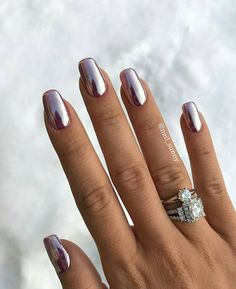 50 Trendy Nail Art Designs to Make You Shine -Amazing Glossy Chrome Nails for You Red Manicure, Manicure E Pedicure, Manicures, Manicure Ideas, Gorgeous Nails, Pretty Nails, Blue Nails, My Nails, Red Gel Nails