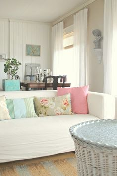 living room from White as Linen blog  Love the white curtains with the wall color!