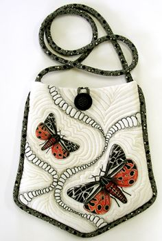 White Silk Tiger Moth Bag made by April Sproule