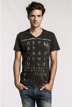 V-neck cotton jersey T-shirt with print on front. - Replay