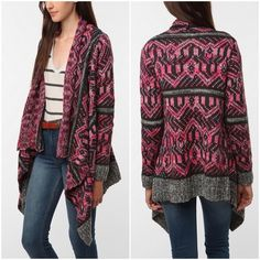 Staring At Stars Pattern Drape Open Cardigan Aztec extra soft patterned cardigan sweater. Features open front with drapey wrap detail and asymmetrical hem. Worn once and in perfect condition. 100% Acrylic Urban Outfitters Sweaters Cardigans