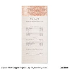 Elegant Faux Copper Sequins Salon Price List Menu                              …