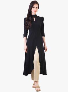 Black Crep Western Style Kurti Kurtas and Kurtis For Women Indian Attire, Indian Wear, Indian Outfits, Black Kurti, Designer Kurtis Online, Kurta Designs, Indian Designer Wear, Indian Fashion, Women's Fashion