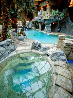 18 Hot Tubs We Wish We Owned - Stairs - Garden / Yard - Waterfall / Fountain / Water Feature - Pool / Yard